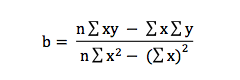 Formula to compute the regression coefficient b