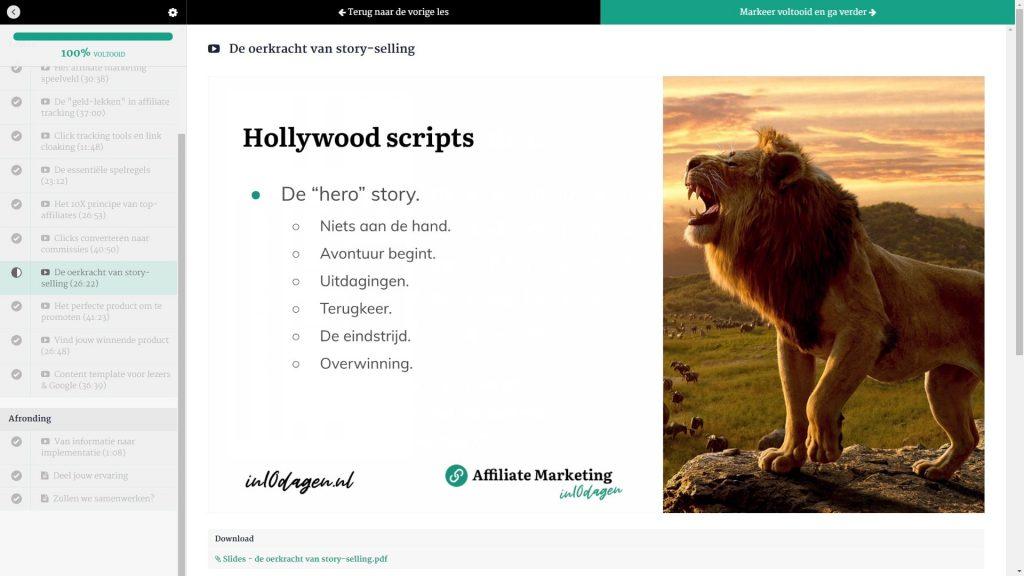 Affiliate Marketing in 10 dagen review - Storytelling-min