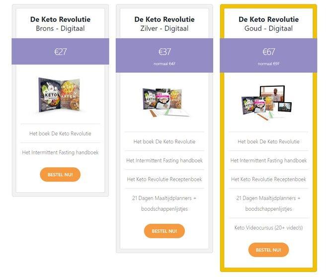 Keto Revolutie Review - pakketten 2