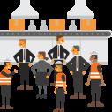 Overleg management en team van medewerkers.
