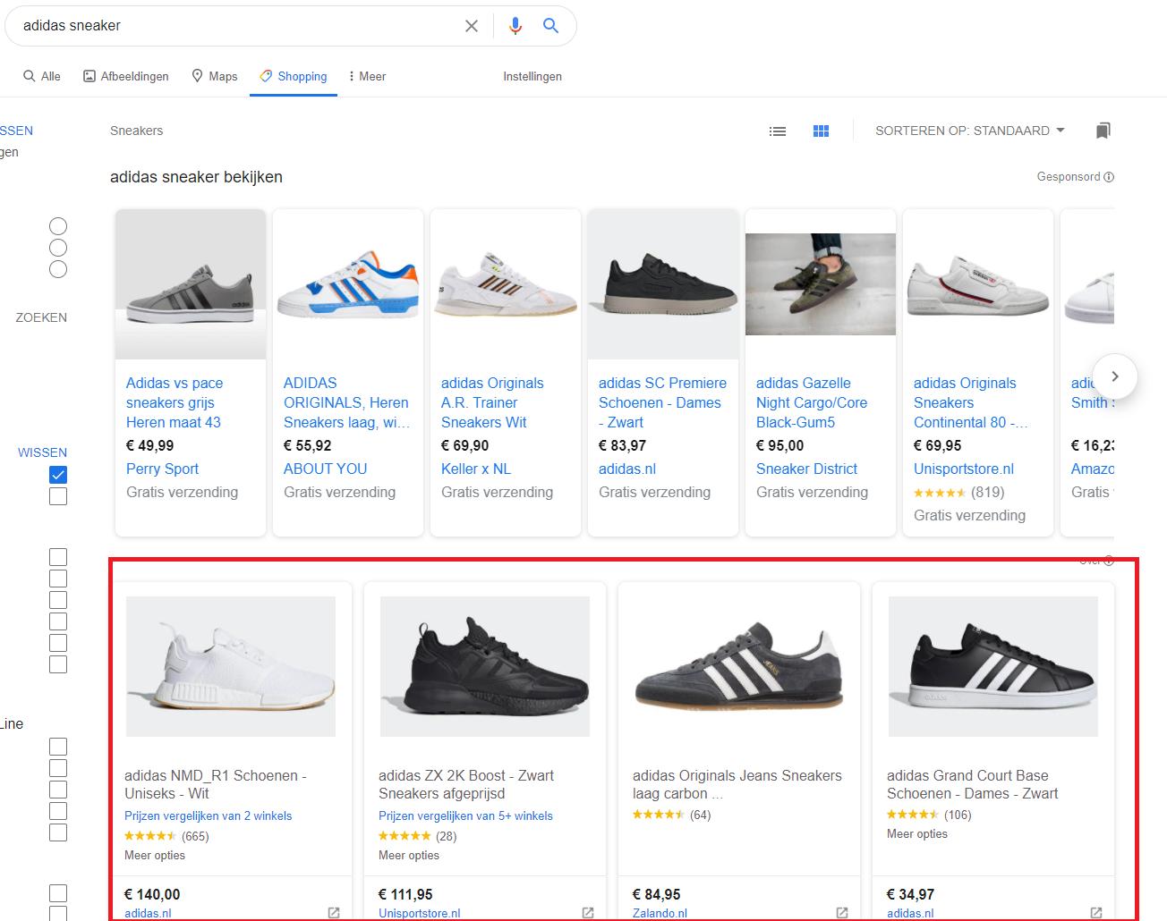 organisch google shopping resultaat