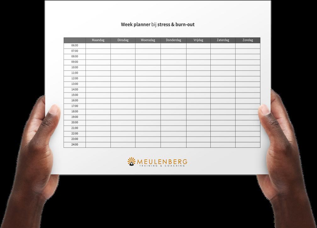 Weekplanner of dagplanner burnout