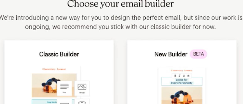 Nieuwe e-mail bouwer in Mailchimp