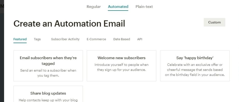 screenshot automated mails Mailchimp gratis versie