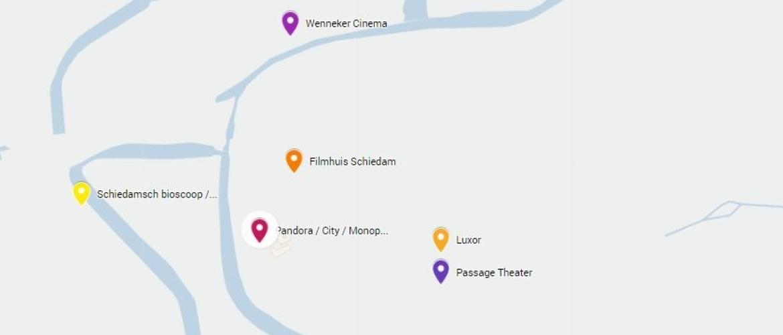 Waar in Schiedam waren en zijn bioscopen gevestigd?