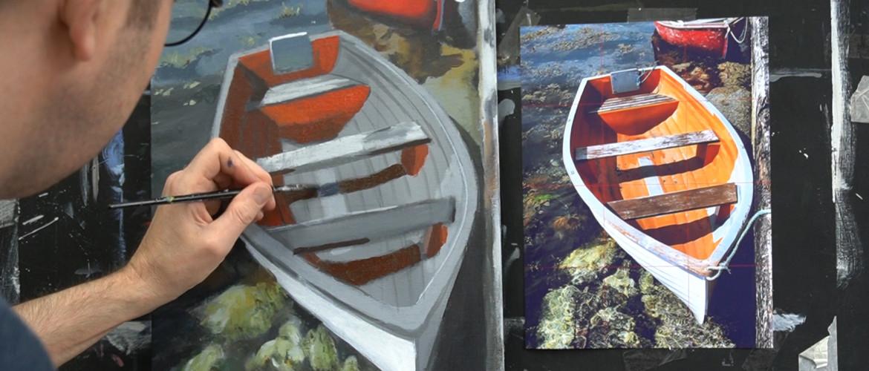 Schilderen op een getoonde of gekleurde ondergrond