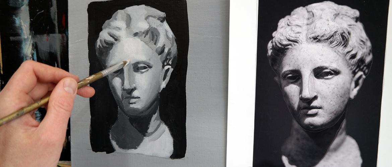 Oefenen met toonwaarden in acrylverf