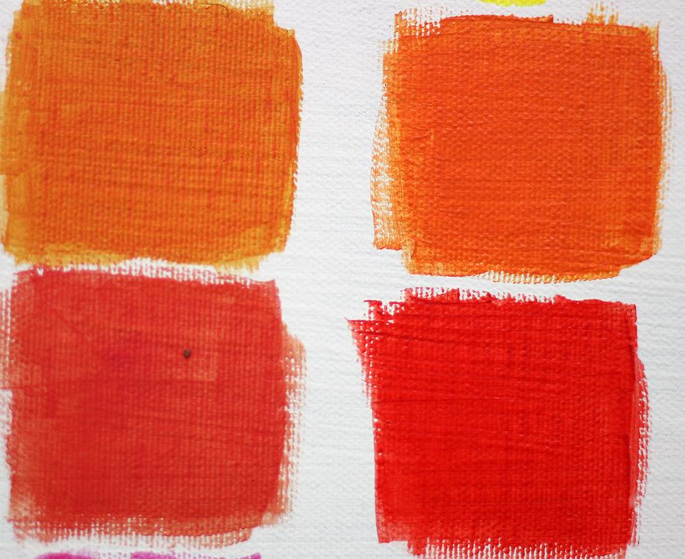 Oranje en rood tweede laag