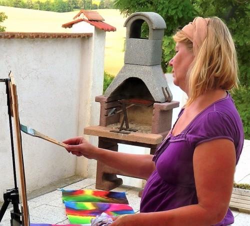 Annerie Mol geeft les (Schilderen in Hongarije)