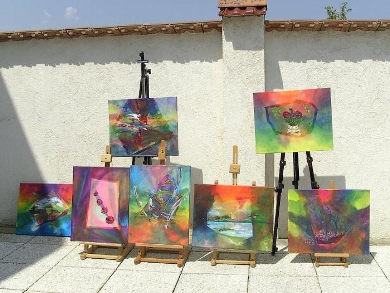 Schilderijen van cursisten bij Artventures