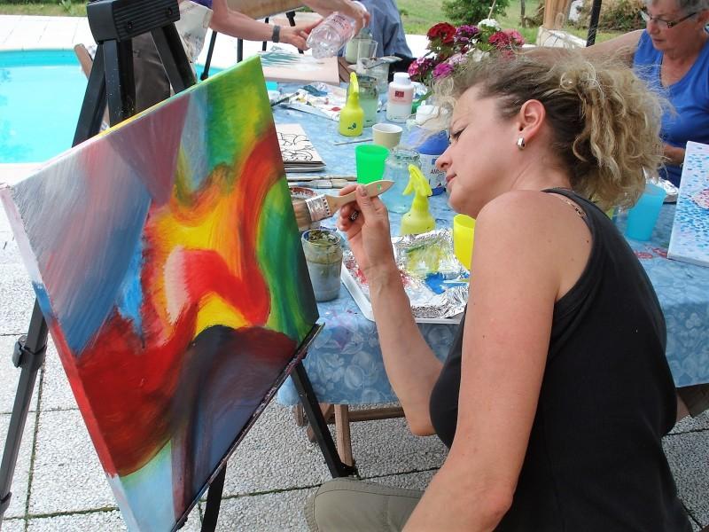 Samen buiten schilderen in Hongarije