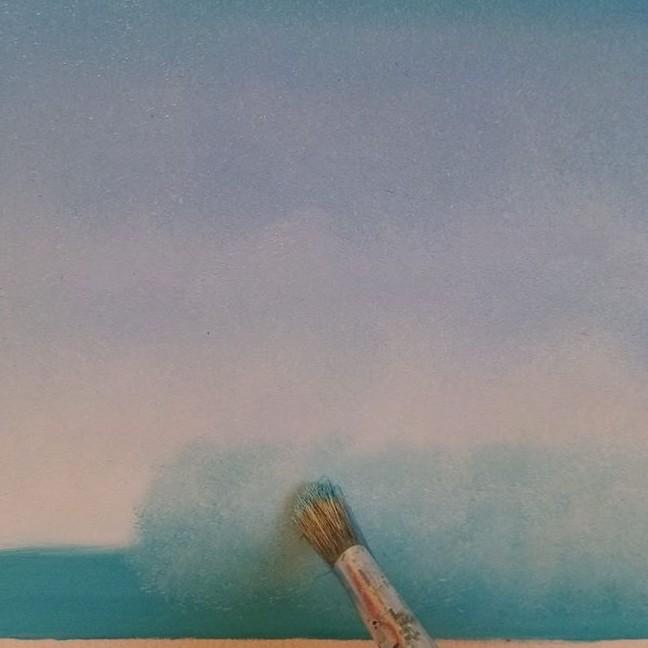 het door elkaar mengen op het doek van de lucht kleuren