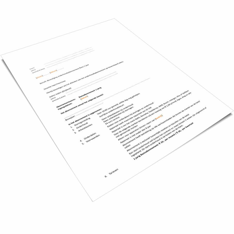 Voorbeeld onderhoudscontracten installatiebedrijf
