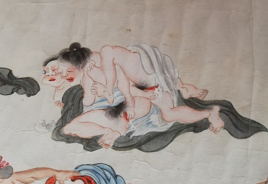 erotic bacchanal with two elderly lesbians