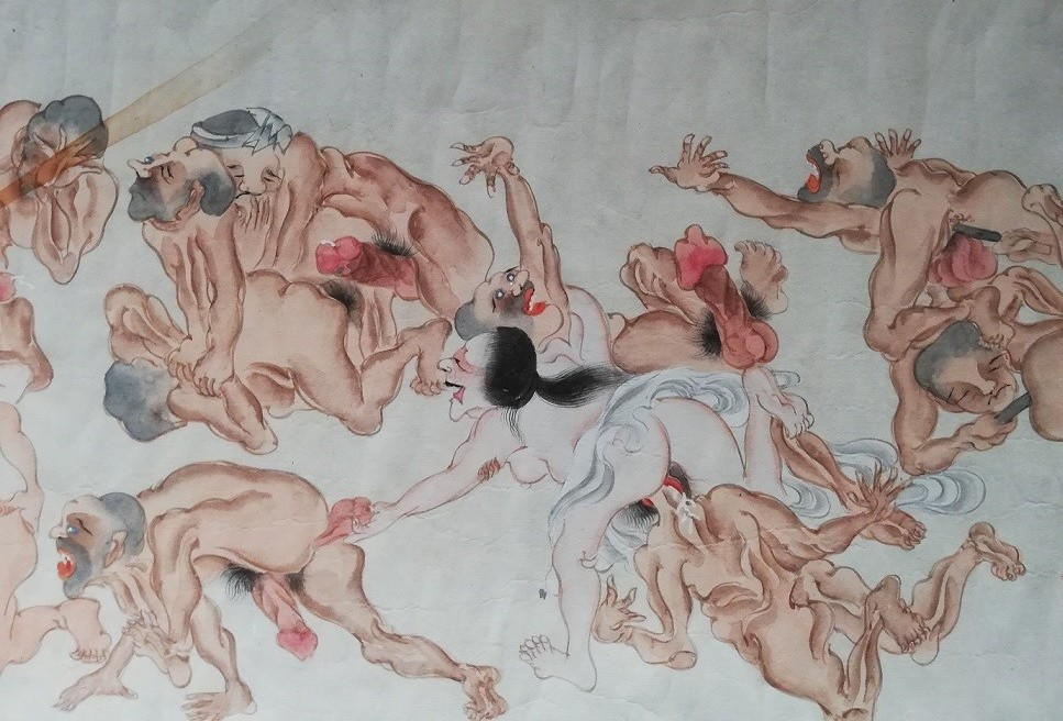 erotic bacchanal: crazy scene with gay Buddhist monks and a mad female