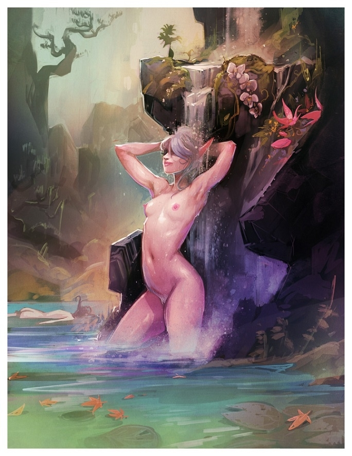 a nude Maeryll under a waterfall