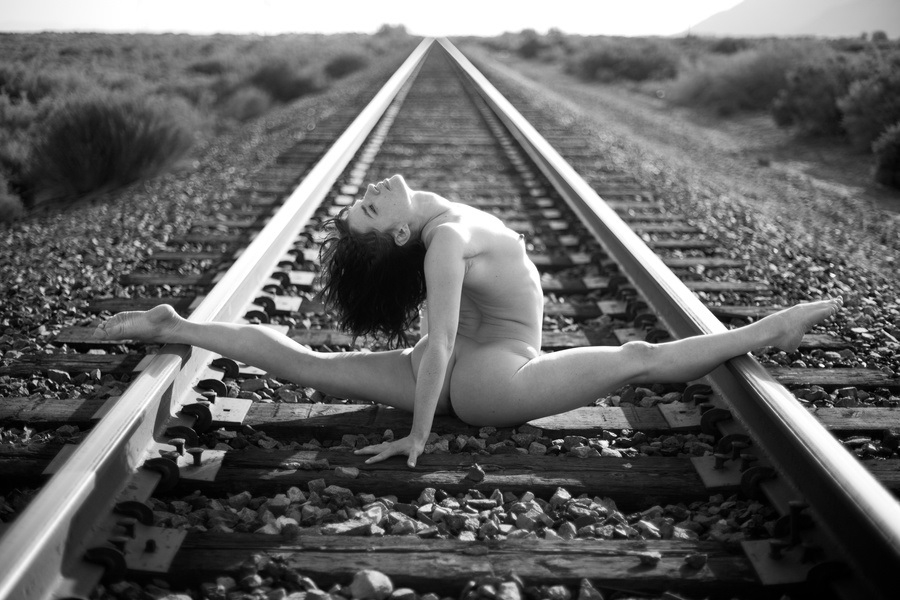 Acey Harper model on the railroad