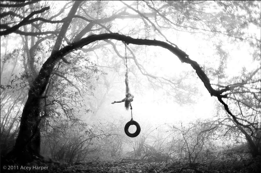 Acey Harper nude hanging from a tree