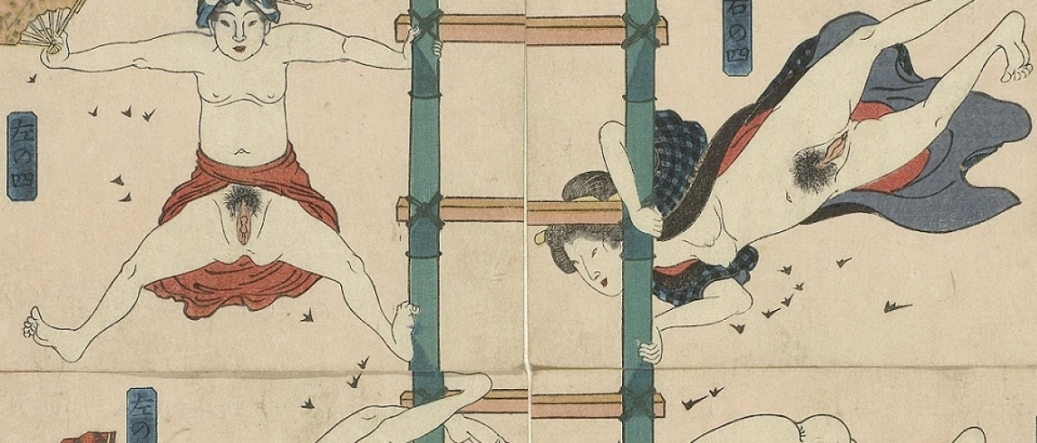 12 Courtesans in the Role of Acrobatic Firemen by Kuniyoshi