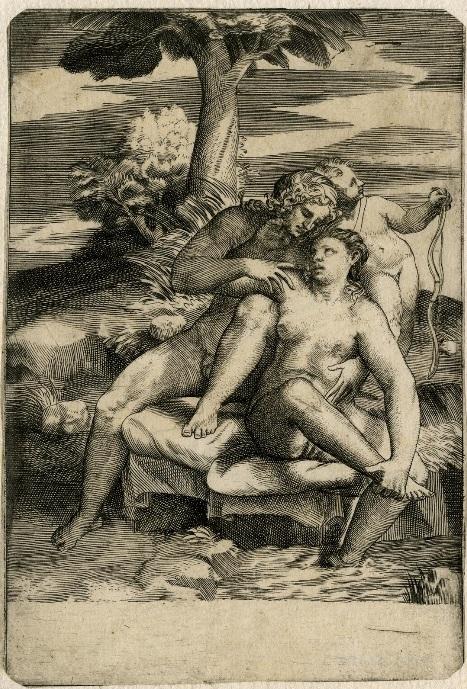 Adonis caressing Venus