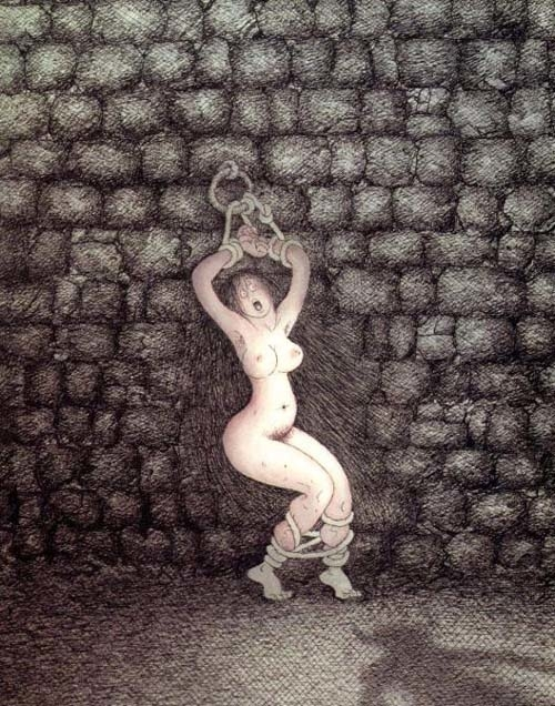 Albert Dubout chained girl