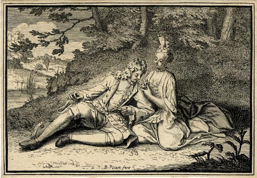 Amorous couple. Man smelling a bouquet picart