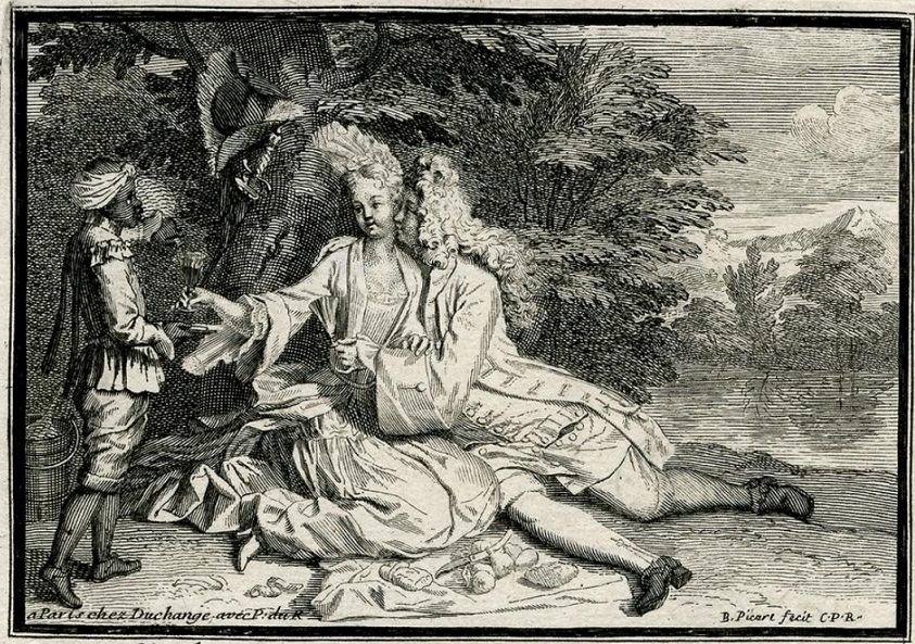 Amorous couple with a boy servant