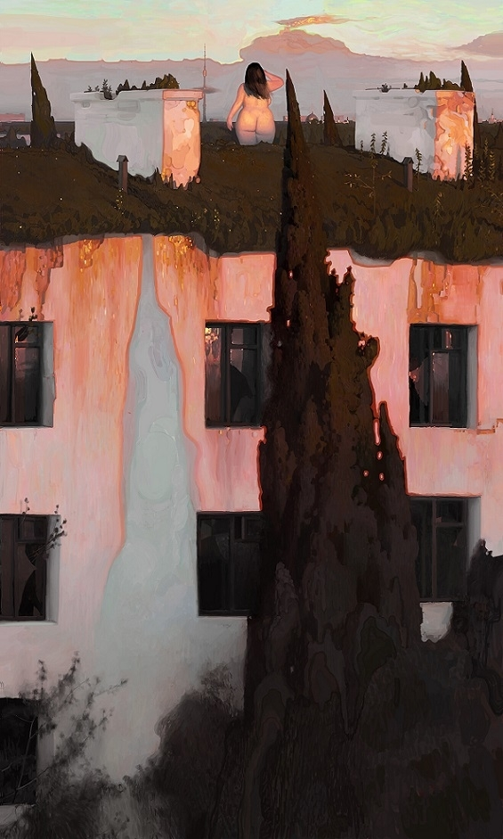 Andrey Surnov chubby nude on a building