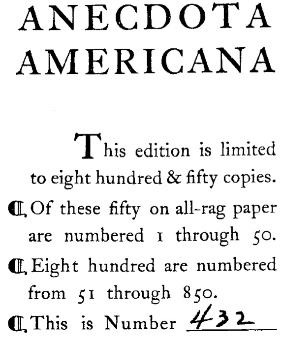 Anecdota Americana inscription