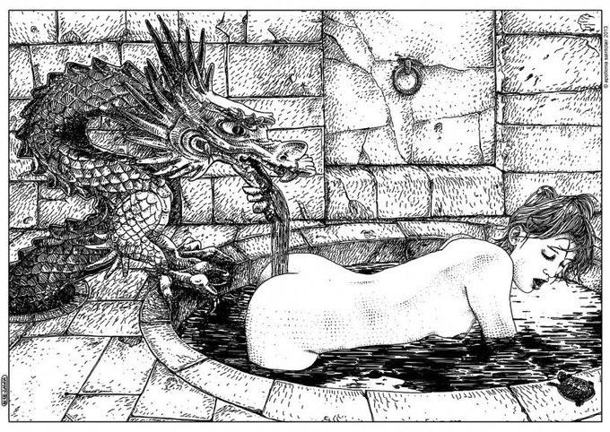 Apollonia Saintclair dragon fountain