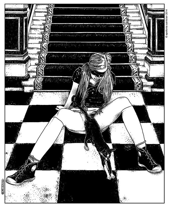 Apollonia Saintclair girl with cat