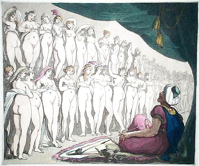 aroused man with turban watching a wall of women