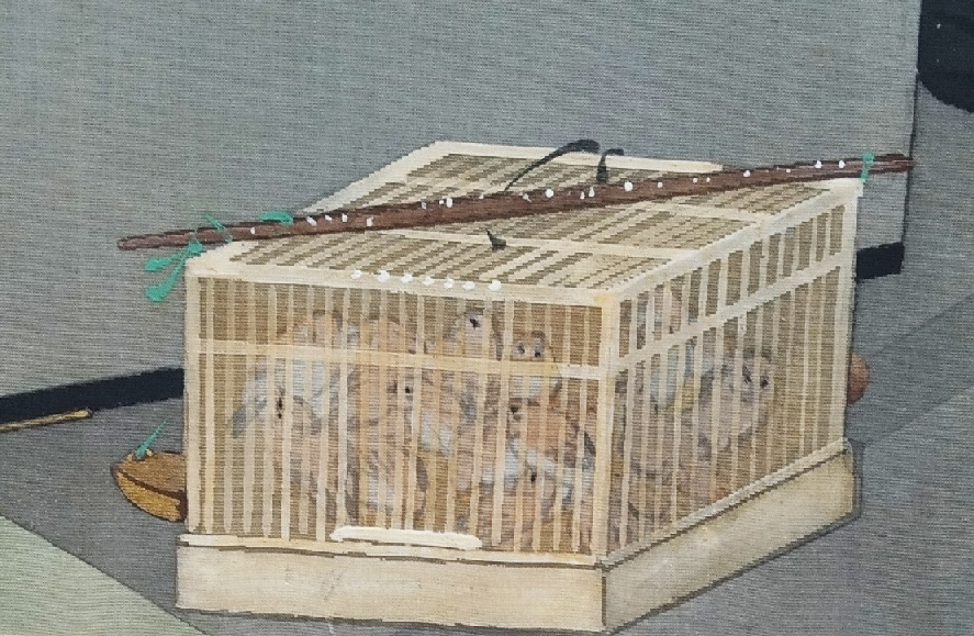 birdcage with numerous birds and flute