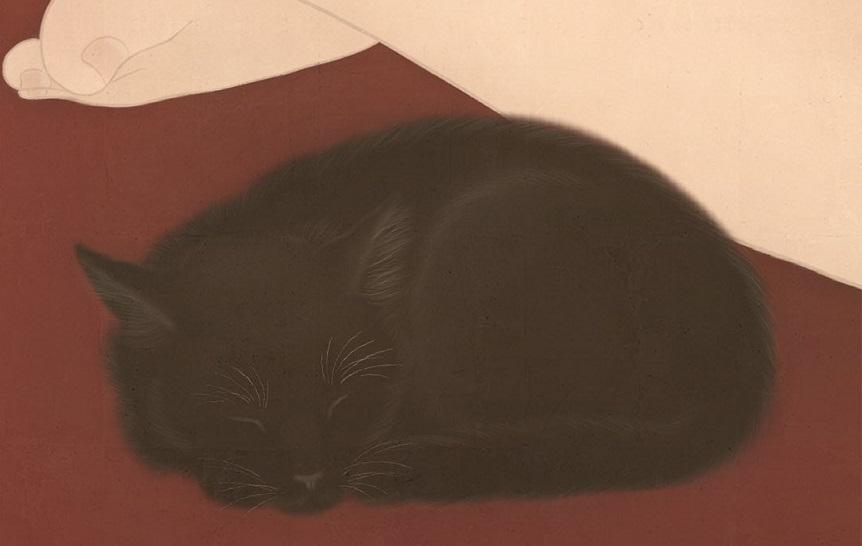 Black Cat Senju Shunga painting