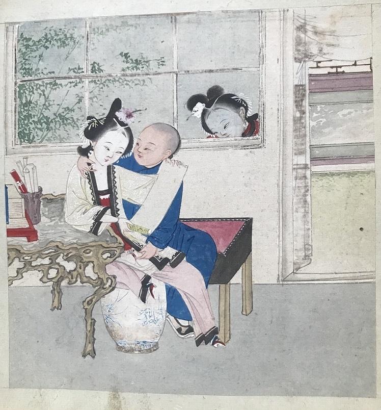 Chinese erotic painting female voyeur