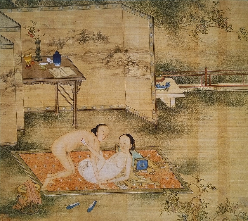 Chinese erotic painting in the garden