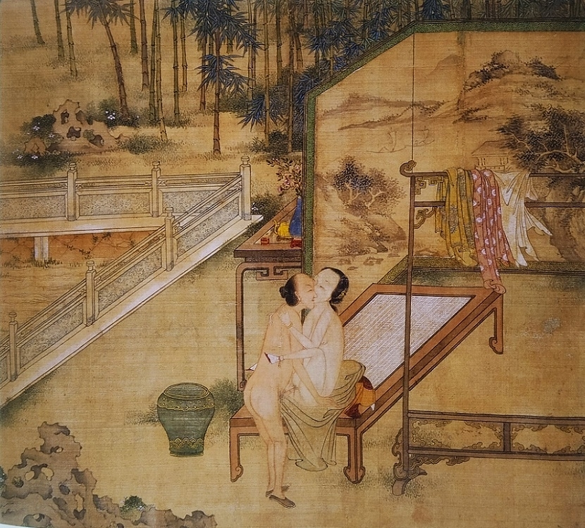Chinese intimate couple on a table