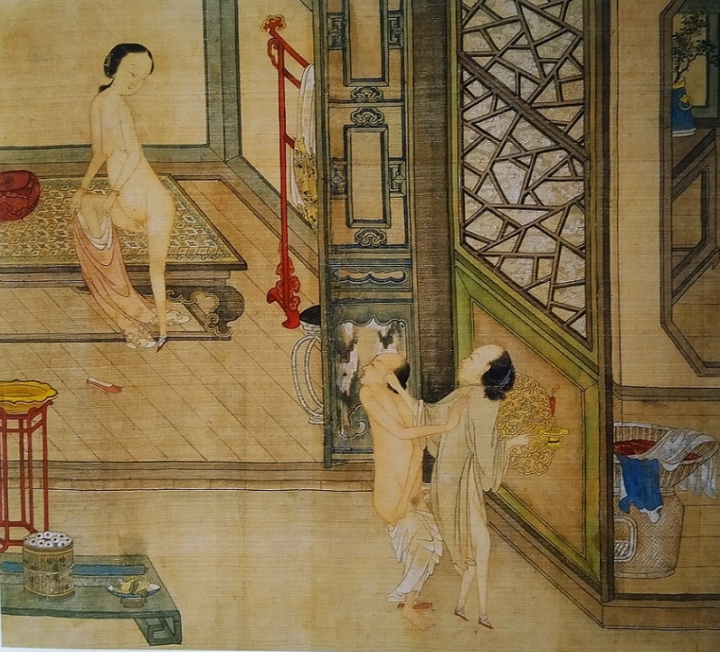 Chinese sensual couple and nude female coming from the bath