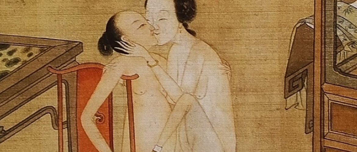 18th Century Chinese Album of 12 Paintings on Silk with Intimate Encounters