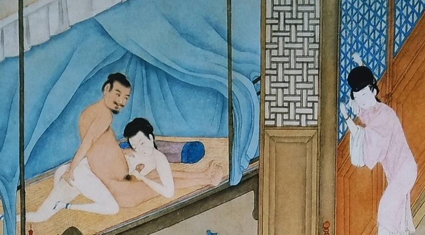 close up secret affair Chinese erotic painting