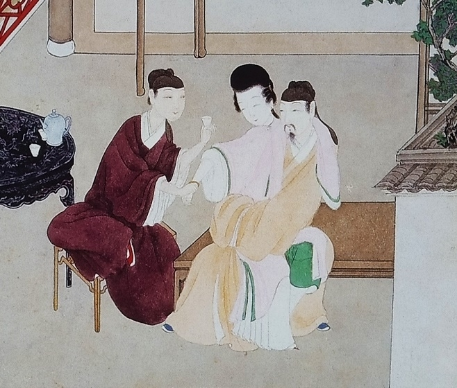close up two male lovers seducing a lady Chinese art