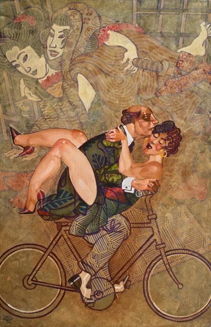 copulating couple on bicycle shunga