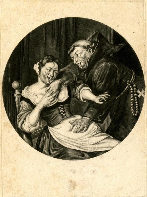 Cornelis Dusart A monk and a Woman, after Dusart