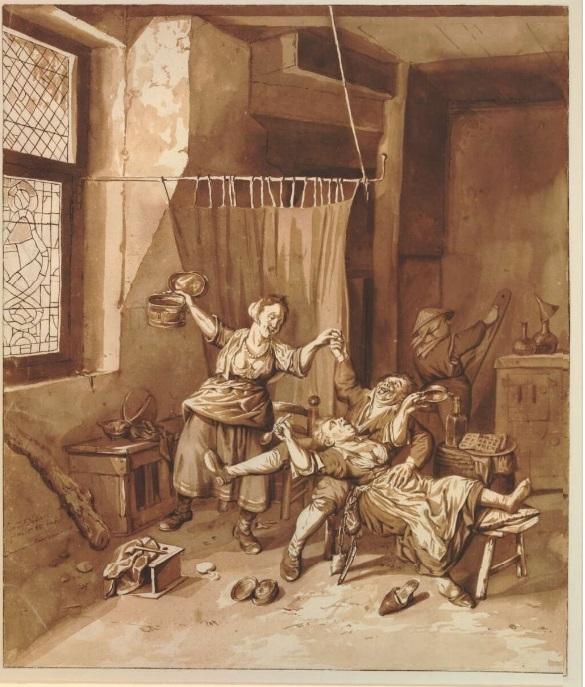 Cornelis Dusart drinking threesome