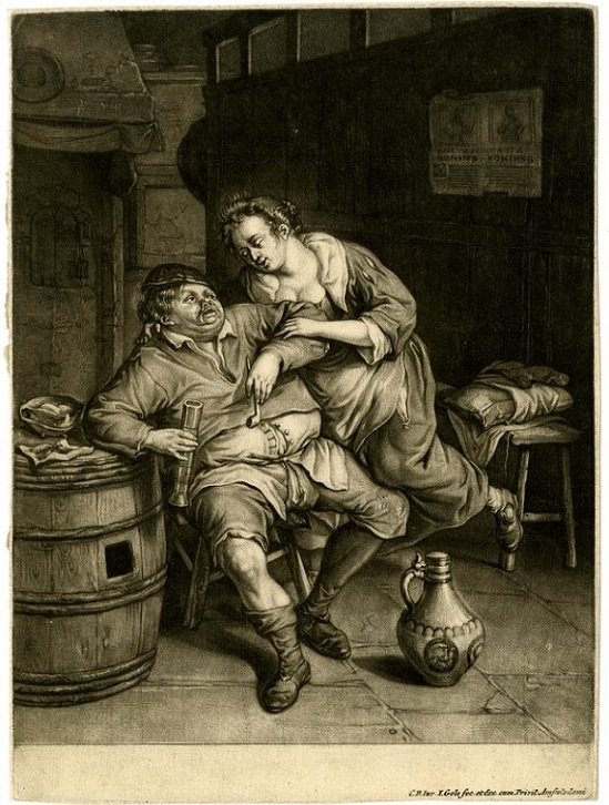 Cornelis Dusart Man and woman in a tavern