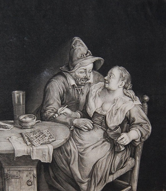 Cornelis Dusart The fond couple at the table