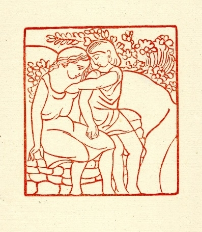 Couple embracing in grass