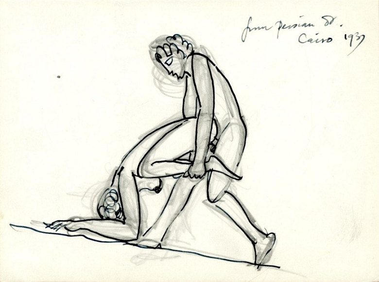 Couple making love in a variation of a frog pose