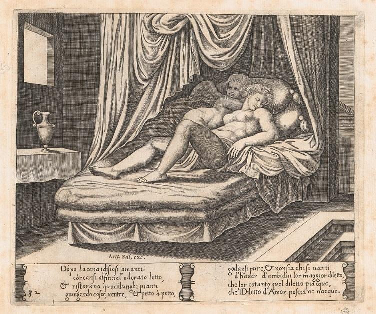 Cupid and Psyche on a nuptial bed