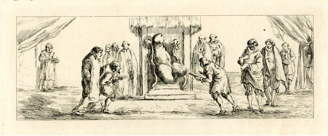 Doctors gathered around the ailing King Phallus, sitting on throne